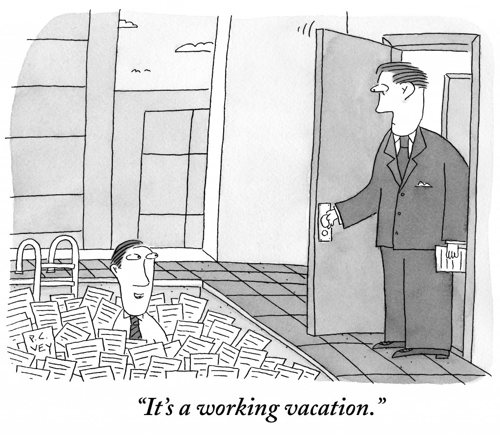 Its a working vacation. (Conde Nast TagID: cncartoons005072.jpg) [Photo via Conde Nast]