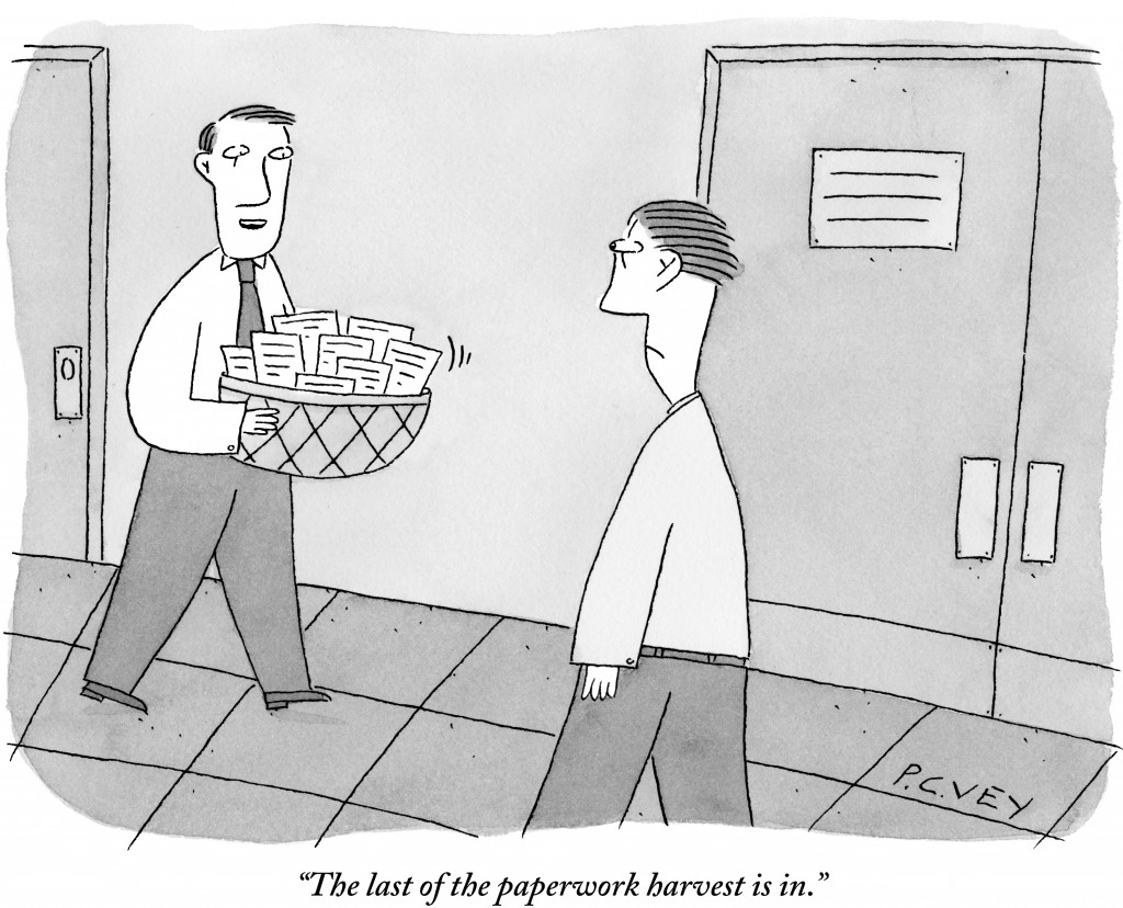 The last of the paperwork harvest is in. (Conde Nast TagID: cncartoons005288.jpg) [Photo via Conde Nast]