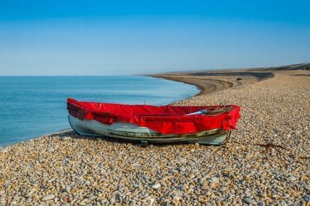 empty boat on beach