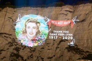 tribute image of Dame Vera Lynn projected on to the White Cliffs of Dover Fri 10 July 2020o