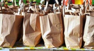 paper shopping bags waiting to be packed