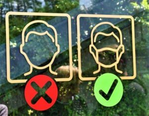 light signs, wearing face mask is right, no face mask is wrong