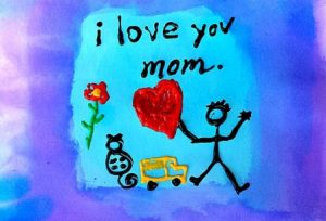 child's drawing of stick figure holding red heart with caption I love you Mom against blue background, augment