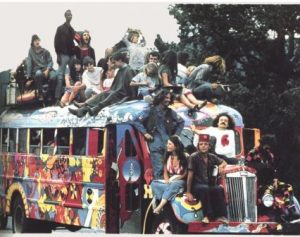 colourful bus loaded with happy hippies