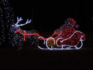 reindeer and santa on sleigh in neon lights