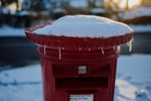 postbox in snow, not obsolete